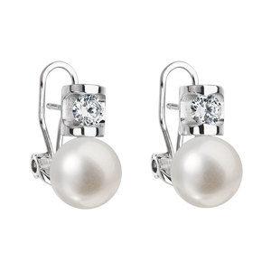 Evolution Group Stříbrné náušnice visací s bílou říční perlou 21018.1