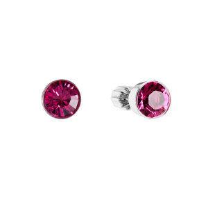 Evolution Group Stříbrné náušnice pecka s krystaly růžové kulaté 31113.3, dárkové balení