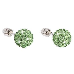 Evolution Group Stříbrné náušnice pecky s krystaly zelené kulaté 31111.3, dárkové balení