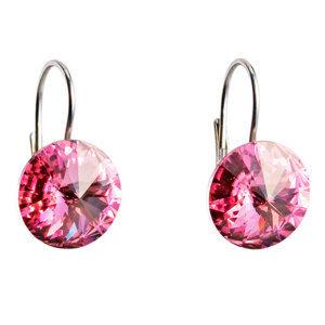 Evolution Group Stříbrné náušnice visací s krystaly Swarovski růžové kulaté 31106.3, dárkové balení