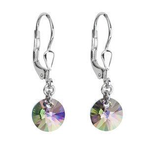 Evolution Group Stříbrné náušnice visací s krystaly Swarovski zelené kulaté 31134.5 paradise shine, dárkové balení
