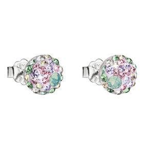 Evolution Group Stříbrné náušnice pecka s krystaly Swarovski mix barev kulaté 31136.3 sakura, dárkové balení