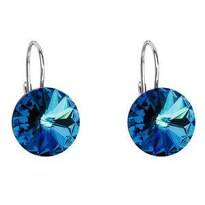 Evolution Group Stříbrné náušnice visací s krystaly Swarovski modré kulaté 31106.5, dárkové balení