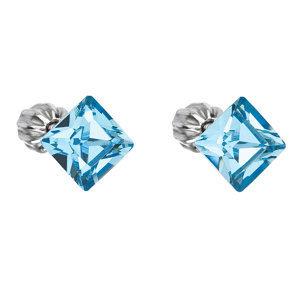 Evolution Group Stříbrné náušnice pecka s krystaly Swarovski modrý čtverec 31065.3 aqua, dárkové balení