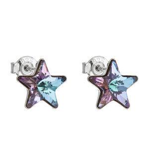 Evolution Group Stříbrné náušnice pecky s krystaly Swarovski fialová hvězdička 31228.5, dárkové balení