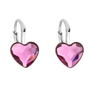 Evolution Group Stříbrné náušnice visací s krystaly Swarovski růžové srdce 31240.3 fuchsia, dárkové balení