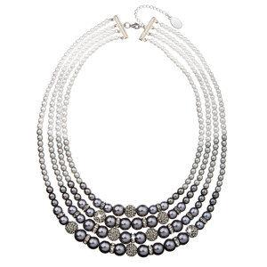 Evolution Group Perlový náhrdelník šedý 4 řadý 32010.3, dárkové balení