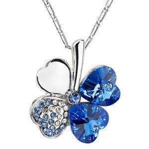 Evolution Group Náhrdelník bižuterie se Swarovski krystaly modrý čtyřlístek 52001.3