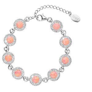 Evolution Group Stříbrný náramek se syntetickým opálem a krystaly Swarovski oranžový 33105.1, dárkové balení