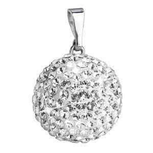 Evolution Group Stříbrný přívěsek s krystaly Swarovski bílý kulatý 34081.1, dárkové balení