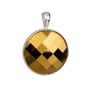 Evolution Group Stříbrný přívěsek s krystalem Swarovski žlutý kulatý 34104.5, dárkové balení
