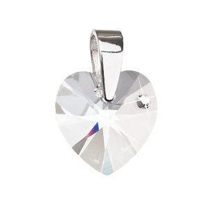 Evolution Group Stříbrný přívěsek s krystaly Swarovski bílé srdce 34139.1, dárkové balení