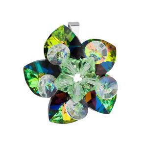 Evolution Group Stříbrný přívěsek s krystalem Swarovskizelená květina 34072.5, dárkové balení