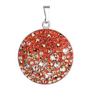 Evolution Group Stříbrný přívěsek s krystaly Swarovski oranžový kulatý 34131.4 orange, dárkové balení
