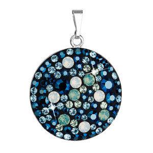 Evolution Group Stříbrný přívěsek s krystaly Swarovski modrý kulatý 34131.4 pacific, dárkové balení