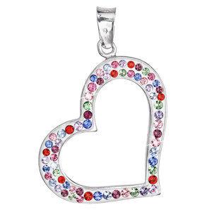 Evolution Group Stříbrný přívěsek s krystaly Swarovski srdce mix barev 34073.3, dárkové balení