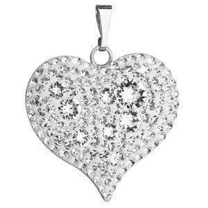 Evolution Group Stříbrný přívěsek s krystaly Swarovski mix bílé srdce 34181.1, dárkové balení