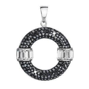 Evolution Group Stříbrný přívěsek s krystaly Swarovski černý kulatý 34187.5, dárkové balení