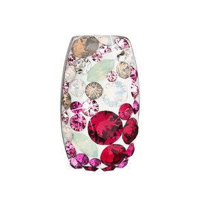 Evolution Group Stříbrný přívěsek s krystaly Swarovski mix barev obdélník 34194.3 sweet love, dárkové balení
