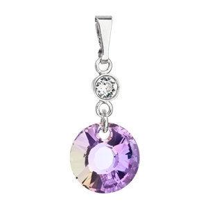 Evolution Group Stříbrný přívěsek s krystaly Swarovski fialový kulatý 34216.5, dárkové balení