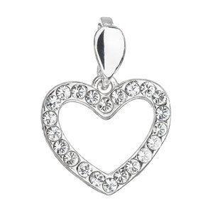 Evolution Group Stříbrný přívěsek s krystaly Swarovski bílé srdce 34219.1, dárkové balení
