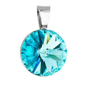 Evolution Group Stříbrný přívěsek s krystaly Swarovski modrý kulatý-rivoli 34112.3 light turquoise, dárkové balení