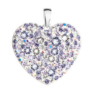 Evolution Group Stříbrný přívěsek s krystaly Swarovski mix barev srdce 34243.3 violet, dárkové balení
