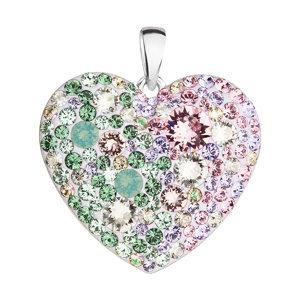 Evolution Group Stříbrný přívěsek s krystaly Swarovski mix barev srdce 34243.3 sakura, dárkové balení
