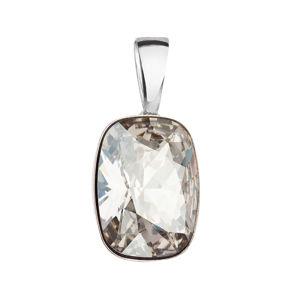 Evolution Group Stříbrný přívěsek s krystaly Swarovski šedý obdélník 34244.5 silver shade, dárkové balení