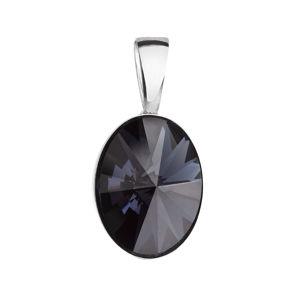 Evolution Group Stříbrný přívěsek s krystalem Swarovski černý ovál 34245.3, dárkové balení