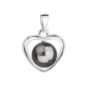 Evolution Group Stříbrný přívěsek s šedou perlou srdce 34246.3, dárkové balení