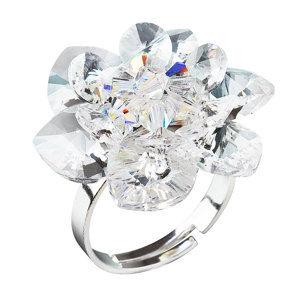 Evolution Group Stříbrný prsten s krystaly Swarovski bílá kytička 35012.1, dárkové balení