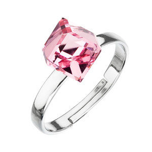 Evolution Group Stříbrný prsten s krystaly růžová kostička 35011.3, dárkové balení