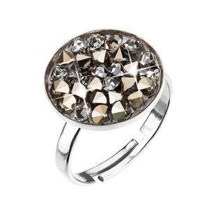 Evolution Group Stříbrný prsten s krystaly zlato šedý 35033.5, dárkové balení