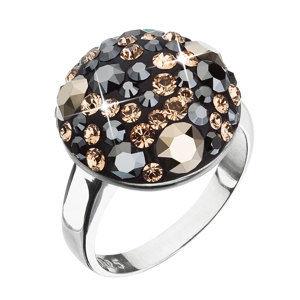 Evolution Group Stříbrný prsten s krystaly Swarovski černo zlatý 35034.4, dárkové balení