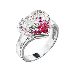 Evolution Group Stříbrný prsten s krystaly Swarovski sweet love srdce 35044.3, dárkové balení