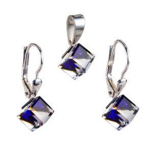 Evolution Group Sada šperků s krystaly náušnice a přívěsek modrá kostička 39068.5 bermuda blue, dárkové balení