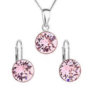 Evolution Group Sada šperků s krystaly Swarovski náušnice, řetízek a přívěsek růžové kulaté 39140.3, dárkové balení