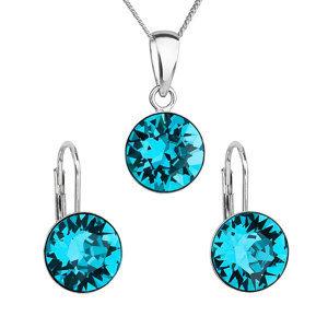 Evolution Group Sada šperků s krystaly Swarovski náušnice, řetízek a přívěsek modré kulaté 39140.3 blue zircon, dárkové balení
