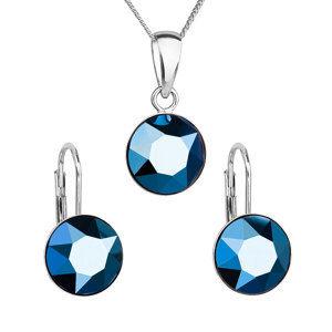 Evolution Group Sada šperků s krystaly Swarovski náušnice, řetízek a přívěsek modré kulaté 39140.5, dárkové balení