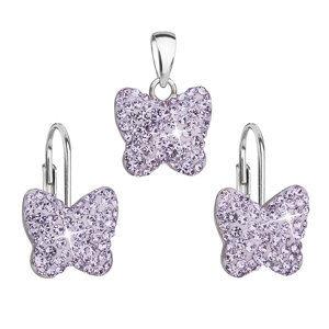 Evolution Group Sada šperků s krystaly Swarovski náušnice a přívěsek fialový motýl 39144.3, dárkové balení