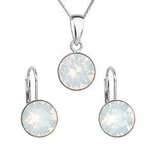 Evolution Group Sada šperků s krystaly Swarovski náušnice a přívěšek bílé kulaté 39140.7 white opál, dárkové balení