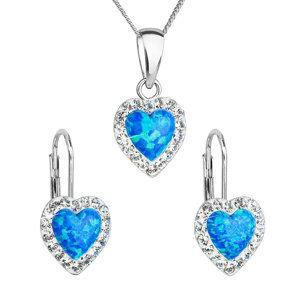 Evolution Group Sada šperků se syntetickým opálem a krystaly Swarovski náušnice a přívěšek modré srdce 39161.1, dárkové balení