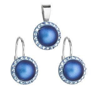 Evolution Group Sada šperků s krystaly Swarovski náušnice a přívěsek s tmavěmodrou matnou perlou kulaté 39091.3, dárkové balení