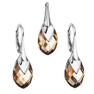 Evolution Group Sada šperků s krystaly Swarovski náušnice a přívěsek zlatá slza 39169.4, dárkové balení