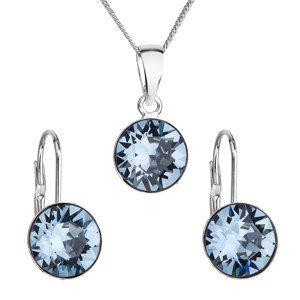 Evolution Group Sada šperků s krystaly Swarovski náušnice, řetízek a přívěsek modré kulaté 39140.3 denim blue, dárkové balení