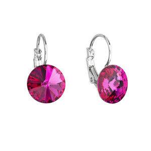 Evolution Group Náušnice bižuterie se Swarovski krystaly růžové kulaté 51002.3 fuchsia