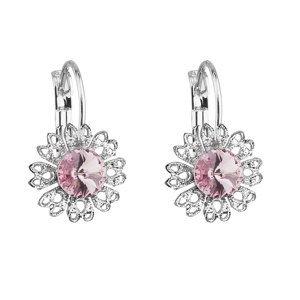 Evolution Group Náušnice bižuterie se Swarovski krystaly růžová kytička 51041.3 light rose