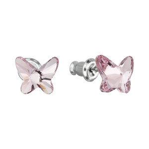 Evolution Group Náušnice bižuterie se Swarovski krystaly růžový motýl 51048.3 light rose