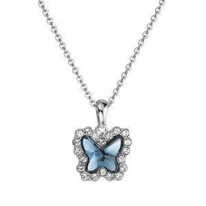 Evolution Group Náhrdelník bižuterie se Swarovski krystaly modrý motýl 52010.3